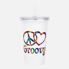 Peace Love Groovy Acrylic Double-wall Tumbler