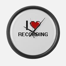 I Love Recording Digital Design Large Wall Clock