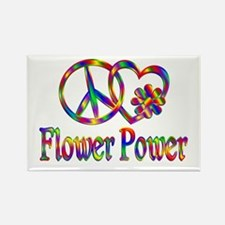 Peace Love Flower Power Rectangle Magnet