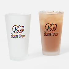 Peace Love Flower Power Drinking Glass