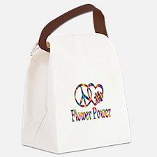 Peace Love Flower Power Canvas Lunch Bag