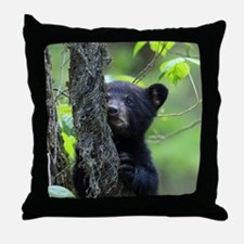 Black Bear Cub Throw Pillow