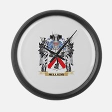 Mulligan Coat of Arms - Family Cr Large Wall Clock