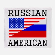 Russian American Flag Throw Blanket
