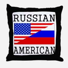 Russian American Flag Throw Pillow