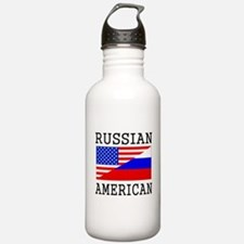 Russian American Flag Water Bottle