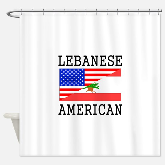 lebanese american flag shower curtain
