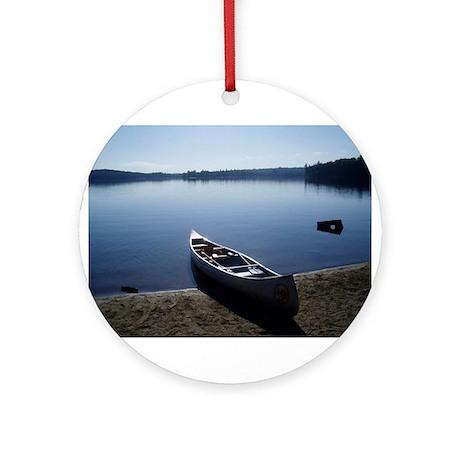 Scenic Canoe Ornament (Round)