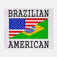 Brazilian American Flag Throw Blanket