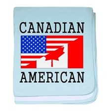 Canadian American Flag baby blanket