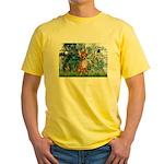 Lilies & Chihuahua Yellow T-Shirt