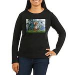 Lilies & Chihuahua Women's Long Sleeve Dark T-Shir