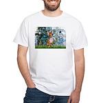 Lilies & Chihuahua White T-Shirt