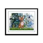 Lilies & Chihuahua Framed Panel Print
