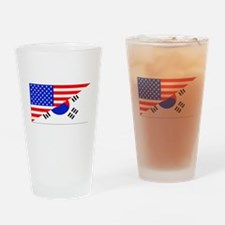 Korean American Flag Drinking Glass