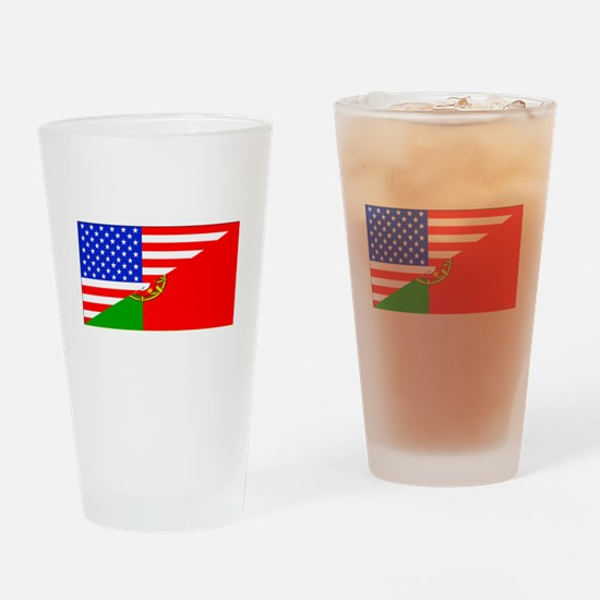 Portuguese American Flag Drinking Glass