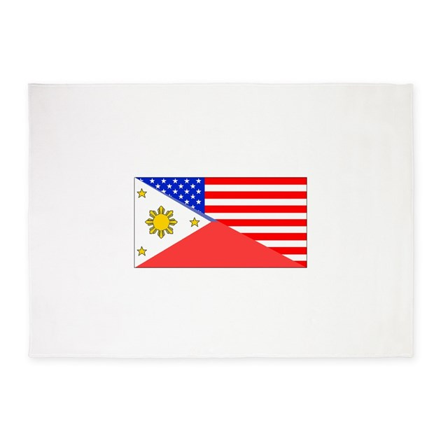 Filipino American Flag 5'x7'Area Rug by HalfAmerican