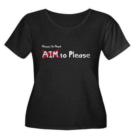 AIM to Please Women's Plus Size Scoop Neck Dark T-