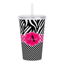 Pink Zebra Dots Personalized Acrylic Double-wall T