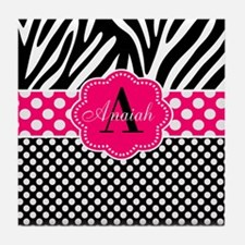 Pink Zebra Dots Personalized Tile Coaster
