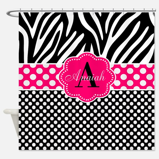 Pink Zebra Dots Personalized Shower Curtain