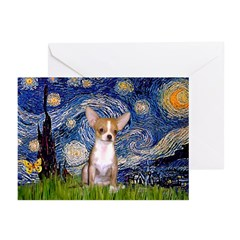 Starry Night Chihuahua Greeting Cards (Pk of 20)