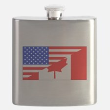Canadian American Flag Flask