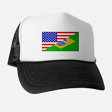 Brazilian American Flag Trucker Hat