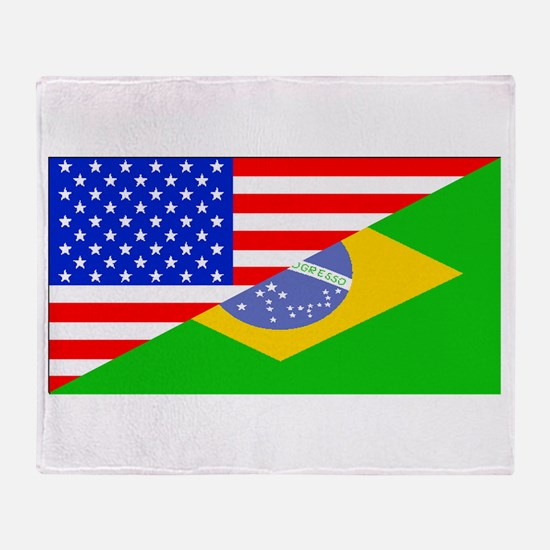 Brazilian American Flag Throw Blanket