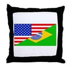Brazilian American Flag Throw Pillow