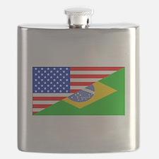 Brazilian American Flag Flask