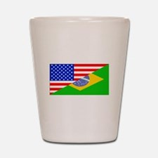 Brazilian American Flag Shot Glass