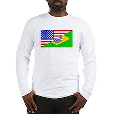 Brazilian American Flag Long Sleeve T-Shirt
