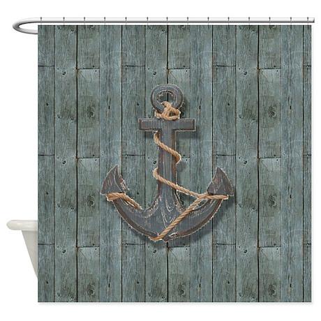teal drift wood anchor shower curtain
