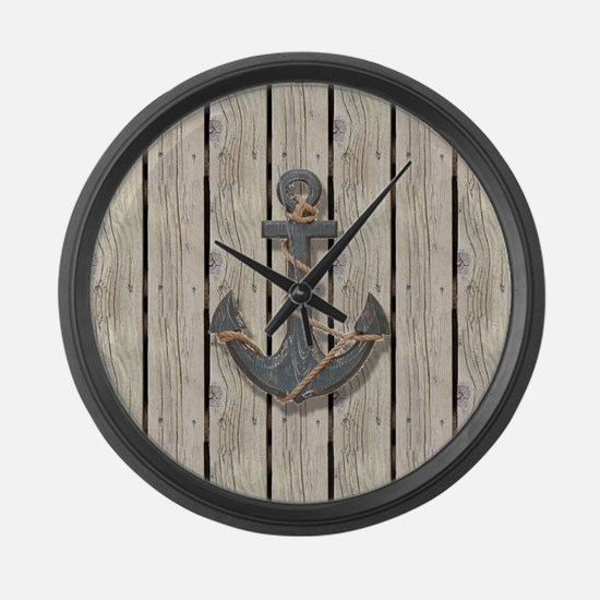 shabby chic wood blue anchor Large Wall Clock