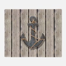 shabby chic wood blue anchor Throw Blanket