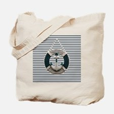 teal grey stripes life saver Tote Bag