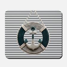 teal grey stripes life saver Mousepad