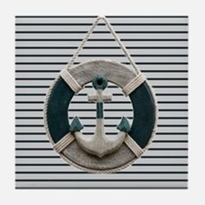 teal grey stripes life saver Tile Coaster