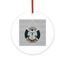 teal grey stripes life saver Round Ornament