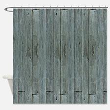nautical teal beach drift wood  Shower Curtain