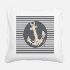 grey nautical stripes anchor Square Canvas Pillow