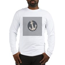grey nautical stripes anchor Long Sleeve T-Shirt