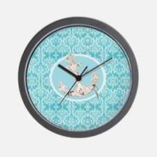 turquoise damask nautical anchor Wall Clock