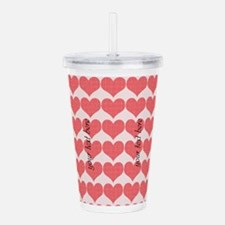 Cute Red Hearts Acrylic Double-wall Tumbler