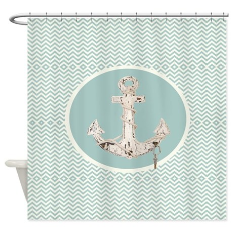 Anchor Teal Turquoise Chevron Shower Curtain By Listing