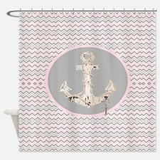 anchor girly pink chevron Shower Curtain