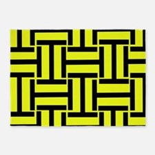 Bold Yellow and Black T Weave 5'x7'Area Rug