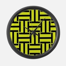 Bold Yellow and Black T Weave Large Wall Clock