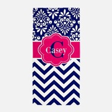 Navy Pink Damask Chevron Personalized Beach Towel
